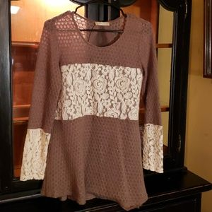 Altar'd State Brown White Lace Top Small